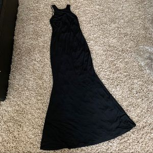 F21 formal dress in high neck maxi cutout back